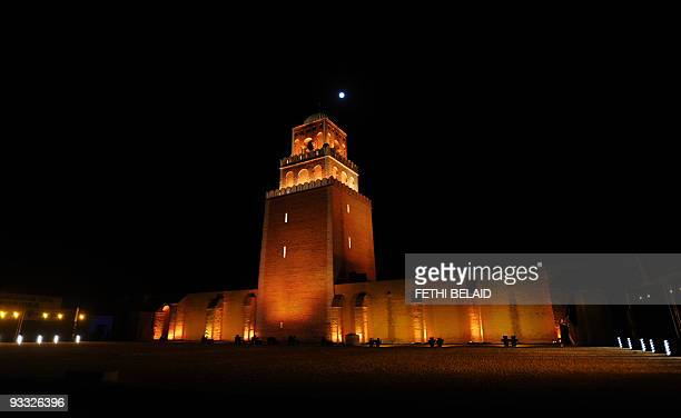The minaret of Oqba mosque, the fisrt mosque to be built in North Africa, is pictured on the night of March 10, 2009 in Kairouan during the Tunisia...