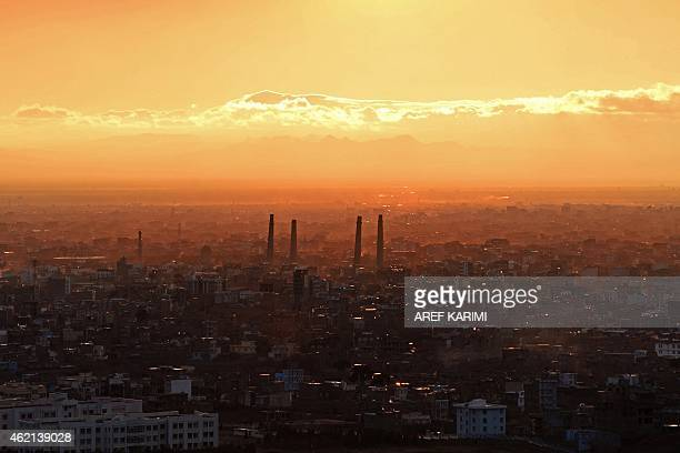 The minarets of the Gawharshad Musalla complex are pictured over the skyline of Herat on January 24 2015 The minarets built by Queen Gowhar Shad in...