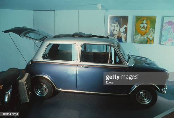 The mini cooper motor car once belonging to Ringo Starr the former drummer of the Beatles pop group on display Liverpool May 1987