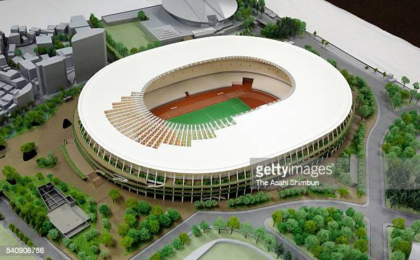 The miniature model of the new National Stadium is displayed on June 17 2016 in Tokyo Japan The model will be displayed during the Olympic Games