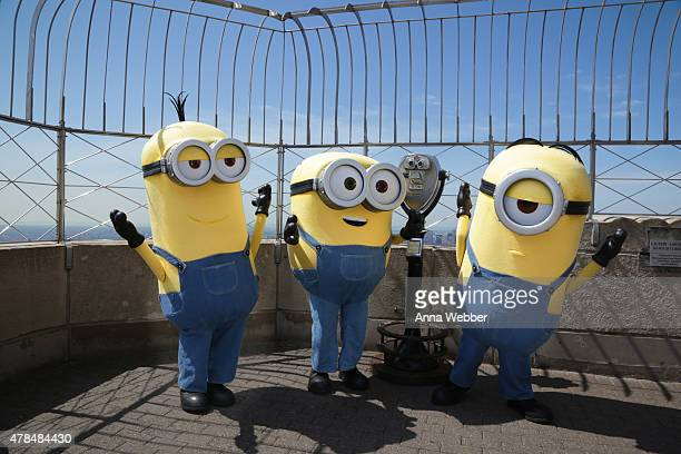 The Minions Kevin Bob and Stuart visit The Empire State Building on June 25 2015 in New York City