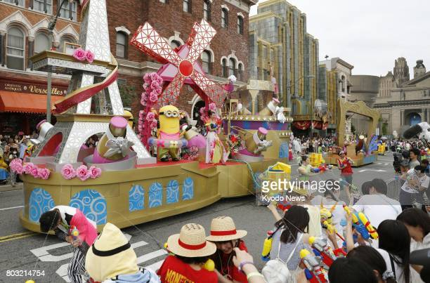 The Minions Water Surprise Parade at Universal Studios Japan in Osaka with water being splashed around is shown to the media on June 29 2017 The...