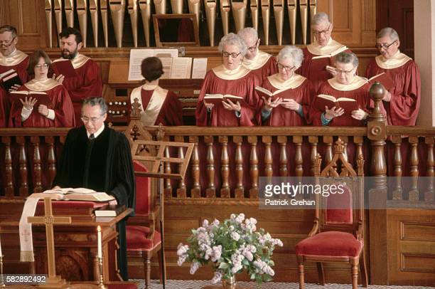 The minister and choir of a church in Sandwich New Hampshire during a service