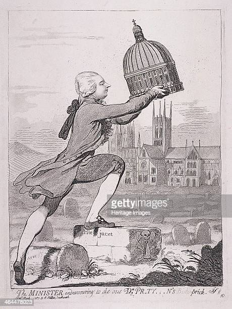 'The Minister endeavouring to eke out Dr Prtyn's Bishoprick' 1787 William Pitt holding up the dome of St Paul's Cathedral which he is about to place...