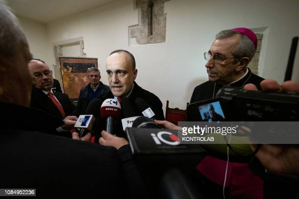 The Minister for Cultural Heritage Alberto Bonisoli with Bishop Giuseppe Satriano during the press conference after his visit to Rossano to see and...