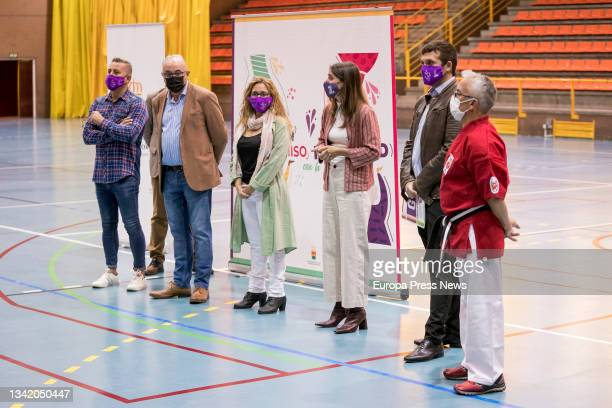 The Minister for Equality, Irene Montero , and the Deputy Mayor, Jesus Santos , attend a meeting with women athletes from Alcorcon, in the Los Cantos...