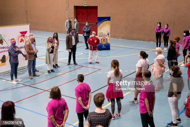 The Minister for Equality, Irene Montero , and the Deputy Mayor, Jesus Santos , attend a meeting with women athletes from Alcorcon, at the Los Cantos...