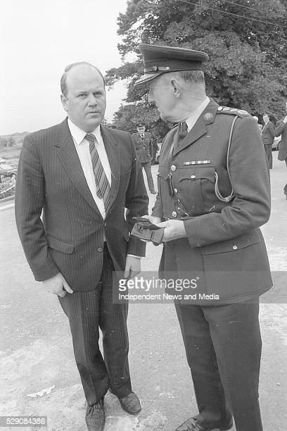The Minister for Justice Michael Noona TD and Garda Commissioner Larry Wren at the funeral of Det Garda Hand who was shot dead by the IRA in the...