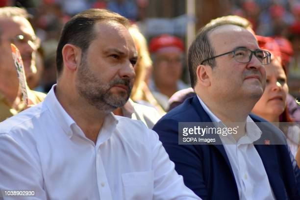 The Minister for Public Works Jose Luis Abalos with the First Secretary of the PSC Miquel Iceta seen sited during the Feast of Rose