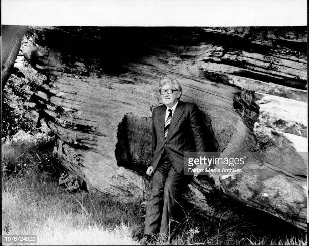 The Minister For Public Works Mr Jack Ferguson sitting in the convicts chair on goat Island A convict was chained to the rock for two years during...
