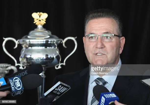 The Minister for Sport and Major Events John Eren speaks to the media during the 2018 Australian Open Launch at Tennis HQ on October 10 2017 in...