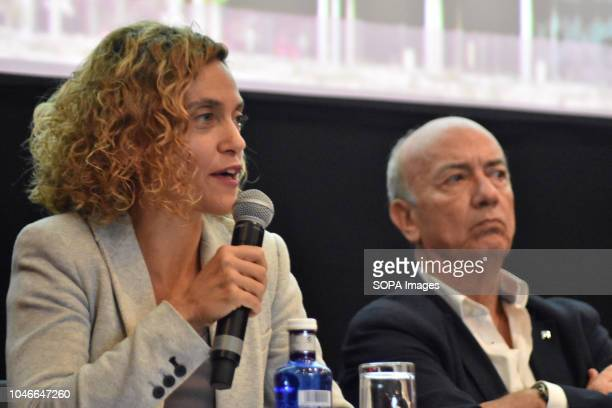 The Minister for Territorial Policy and Public Function Meritxell Batet with Joan Botella president of Federalists of the Left in the parliaments at...