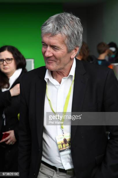 The Minister of Agriculture Damien O'Connor meets and greets with Prime Minister Jacinda Ardern during the Mystery Creek Fieldays on June 14 2018 in...