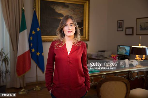 The Minister of Constitutional Reforms and Relations with Parliament of the Italian Republic Maria Elena Boschi in her office Rome Italy 19th...