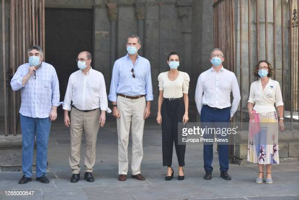 The Minister of Culture and Sport Jose Manuel Rodriguez Uribes the President of the Government of Aragon Javier Lamban King Felipe VI Queen Letizia...