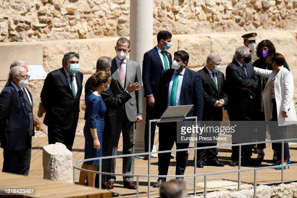 The Minister of Culture and Sport, Jose Manuel Rodriguez Uribes; the Mayor of Cartagena, Ana Belen Castejon; King Felipe VI and the President of...