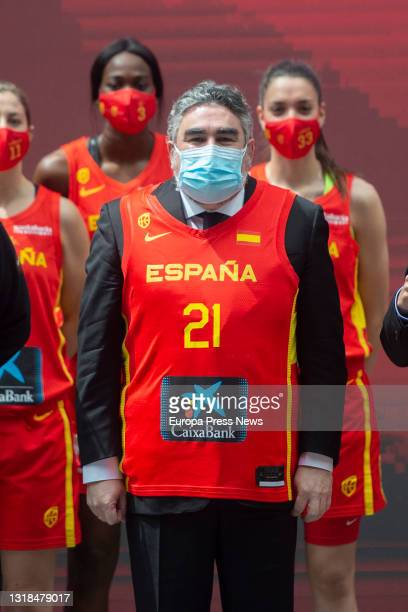 The Minister of Culture and Sport, on 17 May, 2021 Jose Manuel Rodriguez Uribes, on 17 May, 2021 poses with a basketball jersey at the presentation...