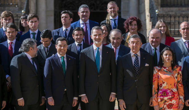 The minister of Culture and Sports Jose Manuel Rodriguez Uribes the president of Andalucia Juanma Moreno and King Felipe VI pose with the winners...