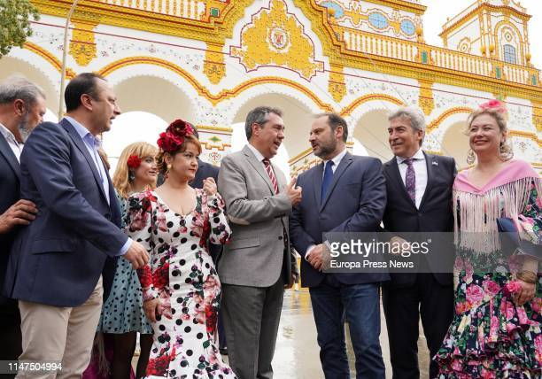 The minister of Development Jose Luis Abalos the delegate of the Government in Andalucia Lucrecio Fernandez the mayor of Sevilla Juan Espadas and the...
