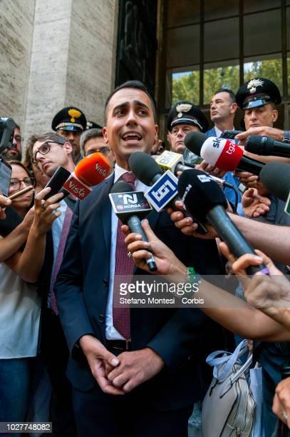The Minister of Economic Development Luigi Di Maio meets the press at the Ministry of Economic Development after the signing of the agreement between...