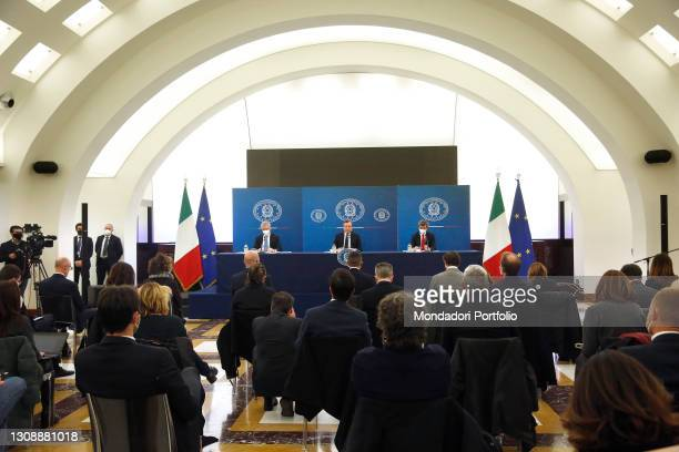 The Minister of Economy Daniele Franco, the Italian premier Mario Draghi and the Minister of Health Roberto Speranza during the press conference at...