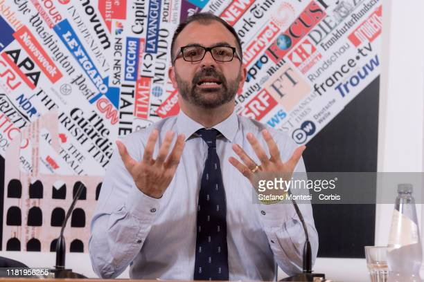 The Minister of Education, Universities and Research Lorenzo Fioramonti attends the press conference to talk about school, the environment and the...