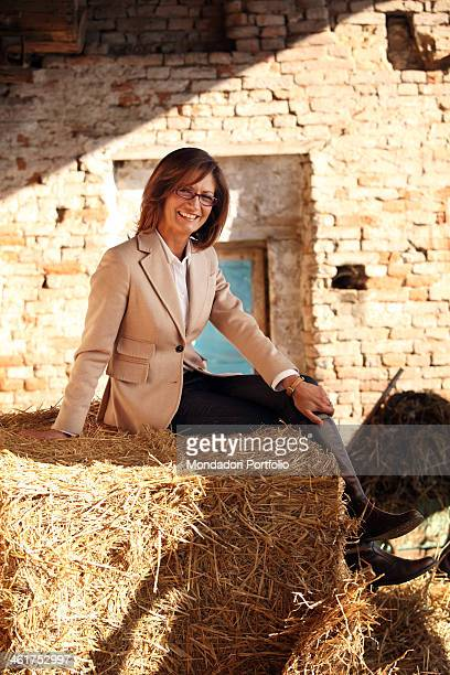 The Minister of Education Universities and Research of Italian Republic Mariastella Gelmini photo shooted in her grandfather's farm Milzano Italy...