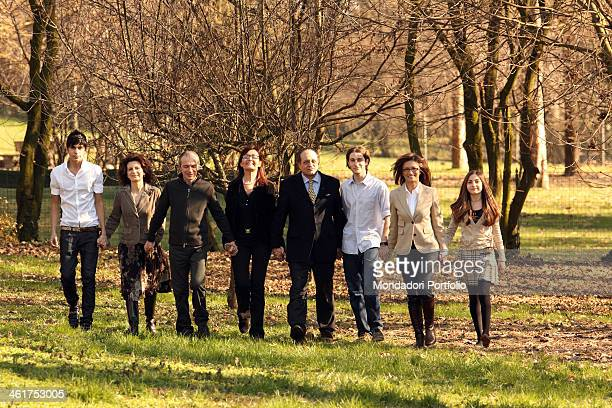 The Minister of Education, Universities and Research of Italian Republic Mariastella Gelmini photo shooted with some members of her family in her...
