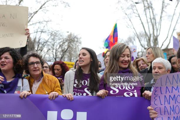 The Minister of Equality Irene Montero at the 8M demonstration on March 08 2020 in MADRID Spain