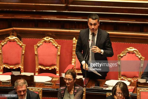The Minister of Foreign Affairs and International Cooperation Luigi Di Maio during the session in the Senate Chamber on 15 January 2020 in Rome Italy