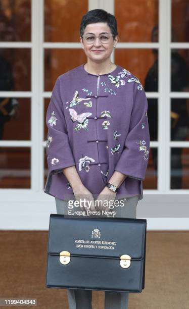 The minister of Foreign Affairs European Union and Cooperation Arancha Gonzalez Laya is seen arriving with her briefcase to the first Council of...