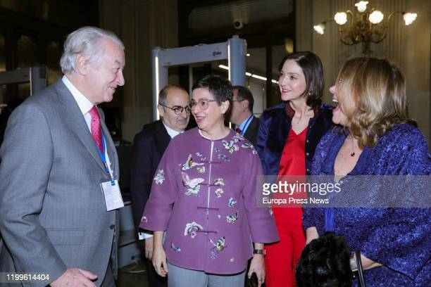 The minister of Foreign Affairs European Union and Cooperation Arancha Gonzalez Laya and the minister of Industry and Tourism Reyes Maroto are seen...