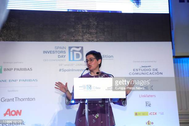 The minister of Foreign Affairs European Union and Cooperation Arancha Gonzalez Laya is seen delivering her speech during the closing of 'Spain...