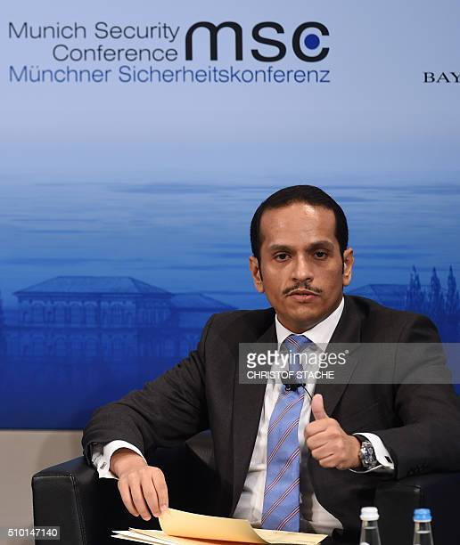 The Minister of Foreign Affairs of Qatar Sheikh Mohammed bin Abdulrahman bin Jassim alThani attends a panel discussion on the third day of the 52nd...