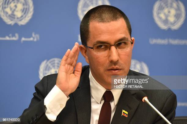 The Minister of Foreign Affairs of Venezuela Jorge Arreaza speaks during a press conference at United Nations headquarters in New York on April 25...