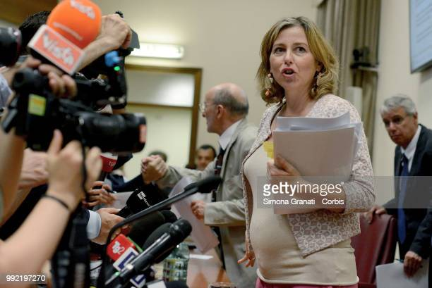 The Minister of Health Giulia Grillo a during the press conference on compulsory vaccinations at the Ministry of Health during which she announces...