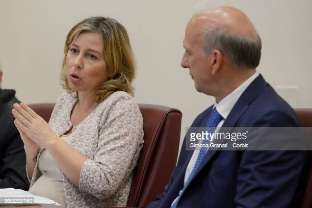 The Minister of Health Giulia Grillo and the Minister of Education Marco Bussetti during the press conference on compulsory vaccinations at the...