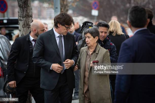 The minister of Health Salvador Illa and the Government delegate in Cataluña Teresa Cunillera speak after the funeral of Diana Garrigosa wife of the...