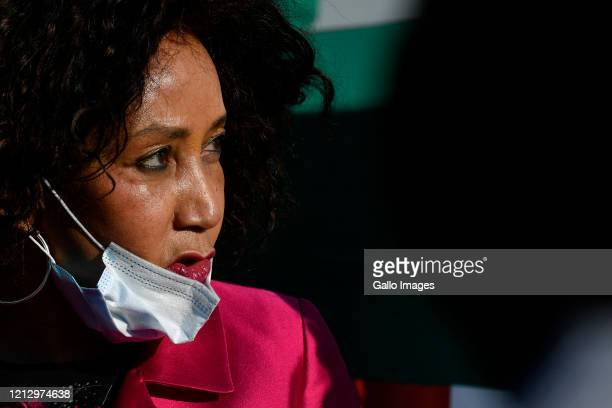 The Minister of Human Settlements, Water and Sanitation Lindiwe Sisulu visits Mamelodi Hostels to inspect Temporary Residential Units structures...