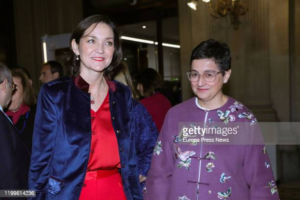 The minister of Industry and Tourism Reyes Maroto the minister of Foreign Affairs European Union and Cooperation Arancha Gonzalez Laya are seen...