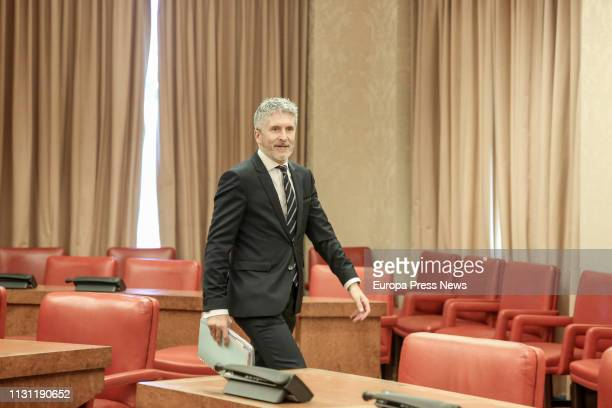 The minister of Interior Fernando GrandeMarlaska appears before the Interior Commission at the Congress of Deputies on February 21 2019 in Madrid...