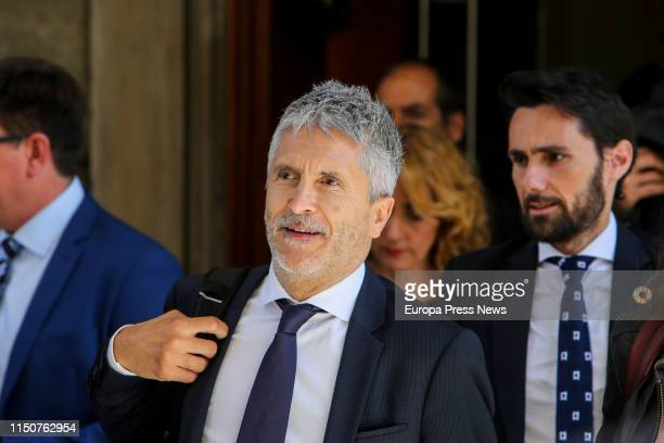 The minister of Internal Affairs Fernando Grande Marlaska is seen leaving the Parliament after the constitutive session of the XIII term of the...