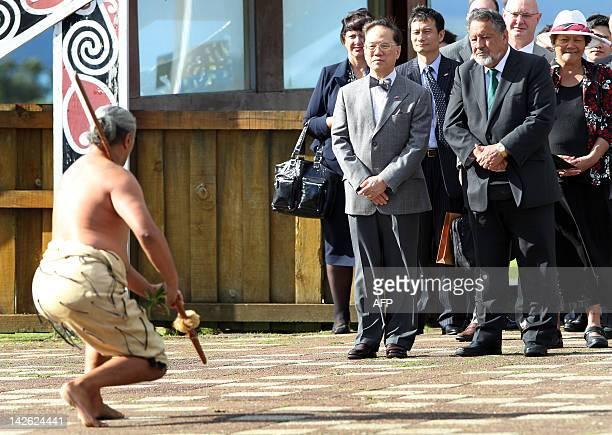 The Minister of Maøori Affairs Pita Sharples and Hong Kong Chief Executive Donald Tsang accept the challenge by 'Maori Warrior' Malcom Kerehoma at...