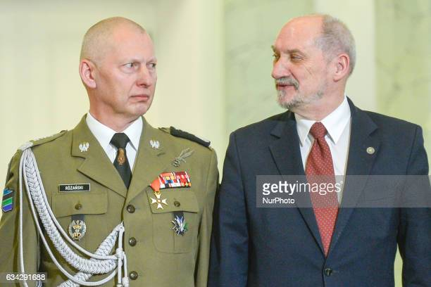 The Minister of National Defence Antoni Macierewicz and General Miroslaw Rozanski at the end of the official ceremony where General Rozanski was...