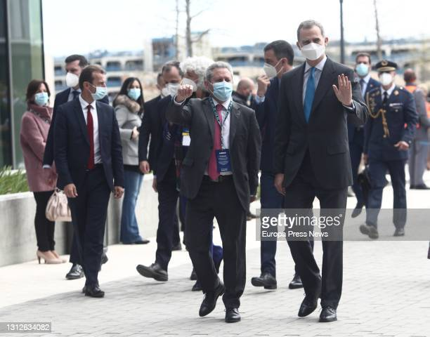 The Minister of Science and Innovation, Pedro Duque ; the President of the Government, Pedro Sanchez ; and King Felipe VI , on his arrival at the...