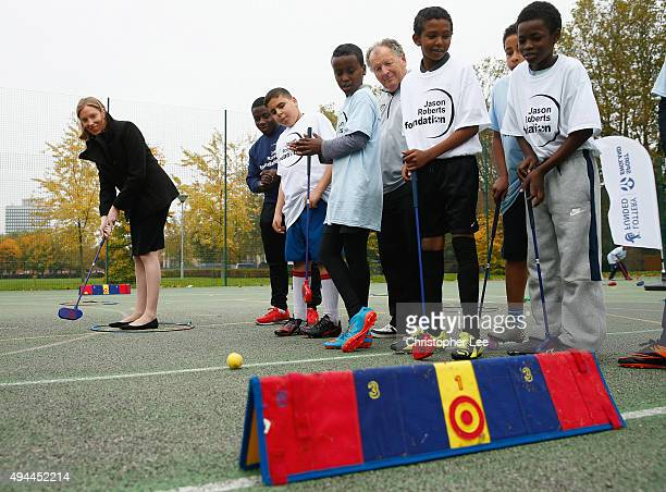 The Minister of Sport Tracey Crouch takes aim at a target as she takes part in Snag Golf as she visits the Sports Pavillion at The Hyde to Unveil New...