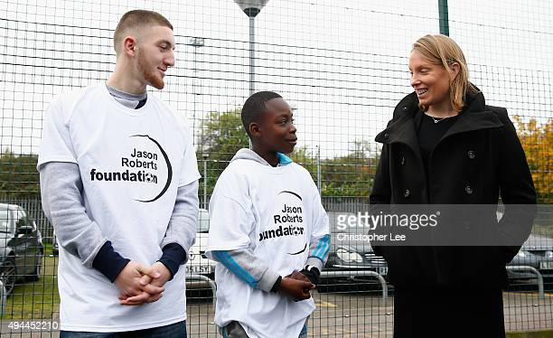 The Minister of Sport Tracey Crouch talks to local kids Drillon and Ranaphael as she visits the Sports Pavillion at The Hyde to Unveil New Funding...