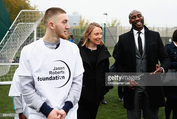 The Minister of Sport Tracey Crouch with Jason Roberts of The Jason Roberts Foundation as she visits the Sports Pavillion at The Hyde to Unveil New...