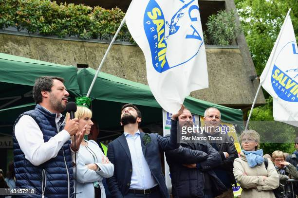 The Minister of the Interior and Secretary of the Northern League Party Matteo Salvini speaks during an election rally ahead of the European...