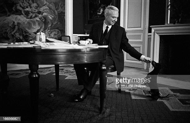 The Minister Of The Interior Roger Frey A Paris Roger FREY ministre de l'Intérieur attablé dans son bureau prenant un thé lisant des journaux et...